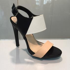 Sandalia Negro Beige Blanco De Tacón Importada P Dama Hellas
