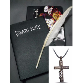 Kit Caderno Death Note Caneta Pena Cd Colar Crucifixo