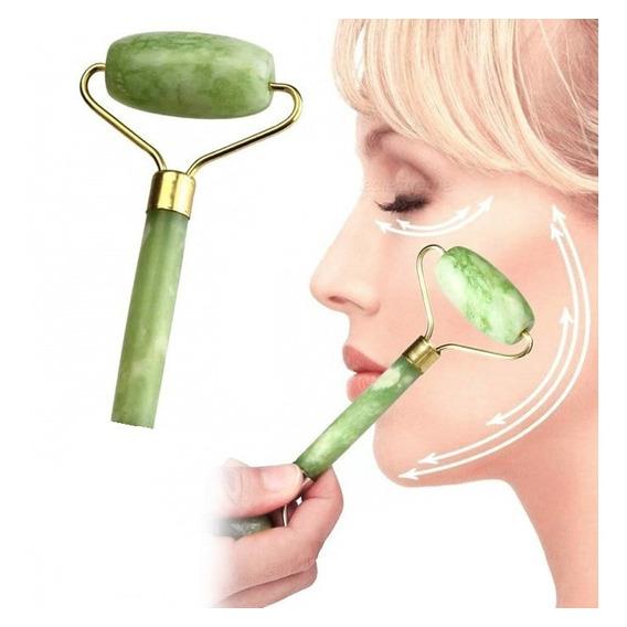 Masajeador Piedra Jade Natural Facial Rodillo Dolor Corporal