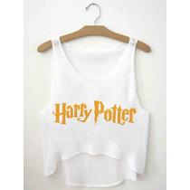 Regatinha Cropped Blusas Femininas Harry Potter Logo Branco