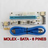 Riser Pcie 16x Last Edition White Ver 008s Molex Sata 6 Pin