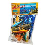 Kit Animais Marinhos Borracha Mar Oceano 12 Peças Brinquedo
