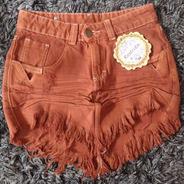 Saia Jeans Cos Alto Desfiada Hot Pants Telha Marrom Sa002
