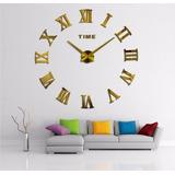 Relógio De Parede 3d Algarismo Romano Dourado / Prata Grande