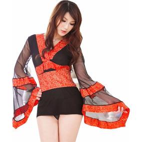 Mini Vestido Tipo Kimono Negro Con Cinta Negra Y Dorado