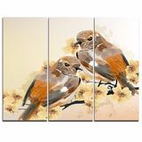 Quadro Decorativo Moderno Abstrato Arte Casal De Pássaros