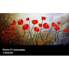 Cuadros Flores Texturados Pintados A Mano Grandes Envios
