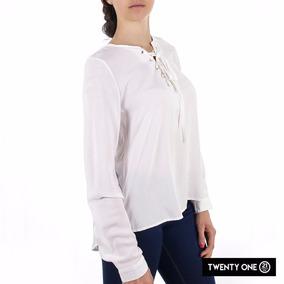 Blusa Dama Color Blanco Con Lisa Cinta Ajustable