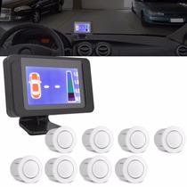 Sensor Branco De Estacionamento 8 Pontos Ré Display Colorido