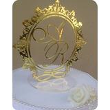Topo De Bolo Acrilico Espelhado Dourado Brasão Iniciais Prom