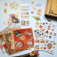 Set Papelería Kawaii Bullet Washi Bujo Scrapbook Stickers