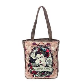 Bolsa Feminina Frida Kahlo Colagem Camurça