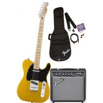 Kit Fender Squier Tele Bs + Amp Frontman 15g + Acessórios