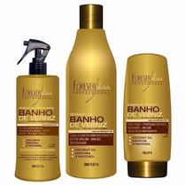 Kit Banho De Verniz - Shampoo + Leave-in + Queratina