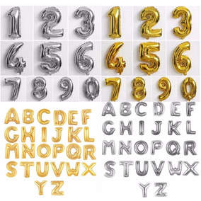 Balão Letra E Número Barato! 75 Cm Dourado E Prata