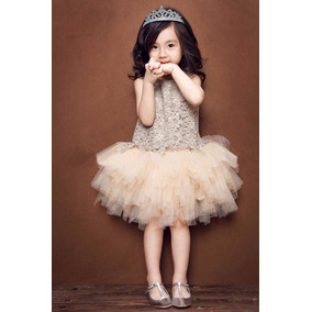 Vestido De Fiesta Tutu Para Niña Niñas Color Champange