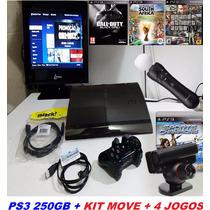 Playstation 3 Super Slim 250gb + Controle + Kit Move 4 Jogos