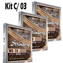 Kit C/ 3 Jogo De Cordas Violão 010 Aço Strinberg Profisional