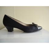 Zapatos Mascaró Nº 36 Cuero Y Reno Azul Oscuro