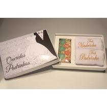 15 Lembrança Padrinhos Caixa C/2 Toalhas Bordadas Sabonetes