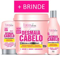 Kit Desmaia Cabelo Máscara 950g Shampoo E Leave-in Forever