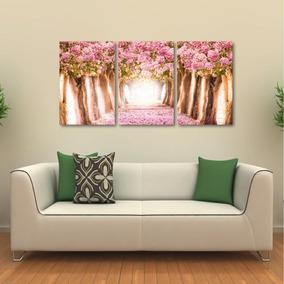 Quadro Decorativo Paisagem Flores Rosas Em Tecido 3 Peças