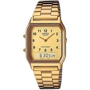 Relógio Casio Aq-230ga-9bmq-sc Anadigi Quadrado Dourado