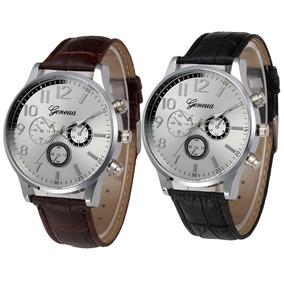 Reloj Geneva Plateado Elegante Hombre