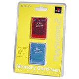 Playstation 2 Memory Card De 8 Mb 2pk Rojo / Azul