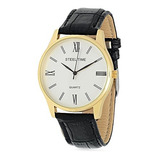 Steeltime Hombre 18k Oro Plateado Reloj Con Respaldo De Acer