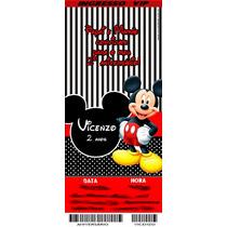 50 Convite Ingresso Mickey Personalizado Aniversário 48hrs