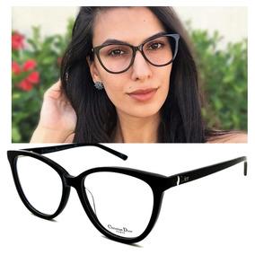 Armação Oculos Grau Feminino Dior33 Black Original Acetato