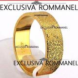 Aliança Rommanel Texturizada 6,10mm Folheada A Ouro 511487