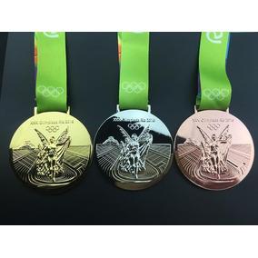 3 Medalhas Olimpica Brasil Rio 2016 Tamanho Original Réplica
