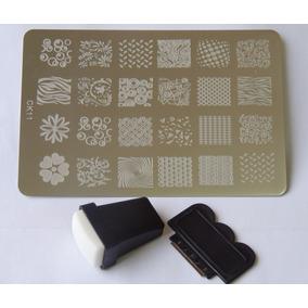 Placas Decalque Adesivo Para Unha + Carimbo 24 Desenhos Ck11