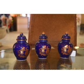 Divinos 3 Potiches O Ánforas Miniatura Azul Cobalto Y Oro
