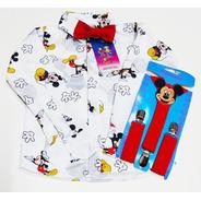 Camisa Infantil Temático Mickey Manga Longa Com Suspensório