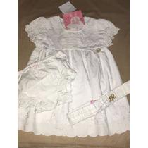Kit Batizado Branco Lilica 3 Peças Calcinha, Faixa E Vestido
