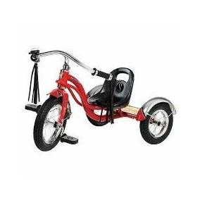 Triciclo Retro Scoop Rojo Metal Con Bocina Y Freno Nuevo