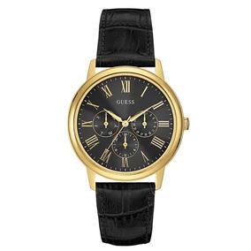 Reloj Hombre Guess Wafer Dorado Y Cuero Negro