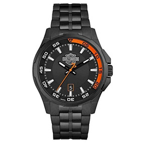 Harley-davidson Mens Dashboard Bar & Shield Watch, Black Sta