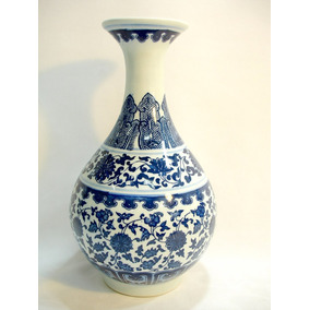 Vaso Porcelana Chinesa Detalhes Florais Azul Sec Xx