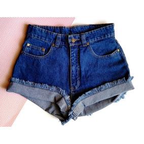 Short De Jean Talle Alto Azul Clasico A La Moda