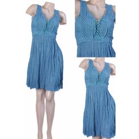 Vestido Corto De Bambula Artesanal - Ropa Vientos Del Este
