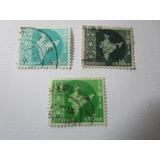 Estampilla Antigua India Mapa Nacional 3 Estampillas L33