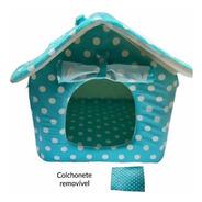Casinha Cachorro Pequeno Casa Toca Pet Soft Plush Verde Poá