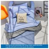Edredón Doblefaz Doble Cama Gris - Azul Tendido Colcha