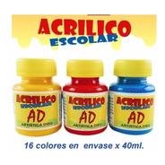 Acrilico Escolar Acrilicos Escolares 40ml Pack X6 Colores