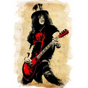 Poster Grande Slash Hd 60cmx84cm Cartaz Rock Decorativo Guns