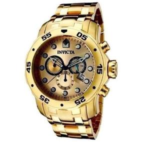 Relógio Invicta Pro Diver Scuba 0074 Banhado Ouro 18k Gold